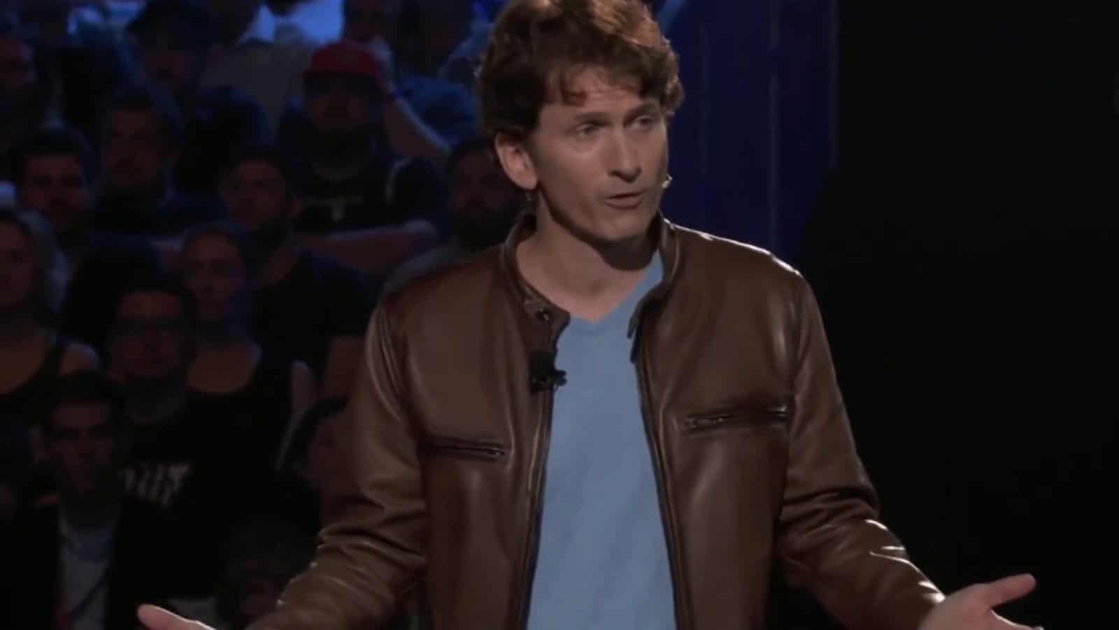 todd howard from bethesda stood on stage