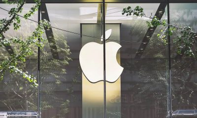 apple logo in window