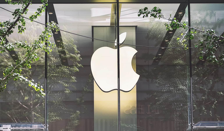 apple logo in window