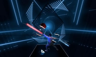 liv mixed reality capture system in action with VR game beat saber