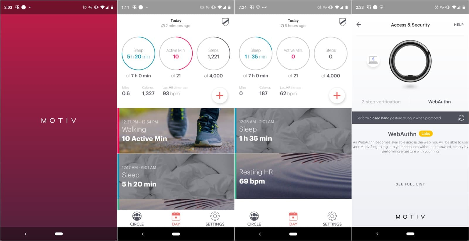 motiv fitness tracking ring app screenshots
