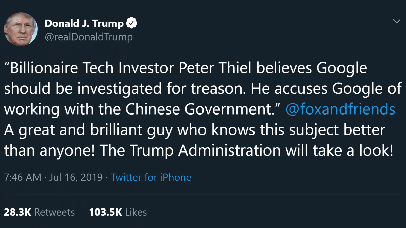 donald trump twitter post about google