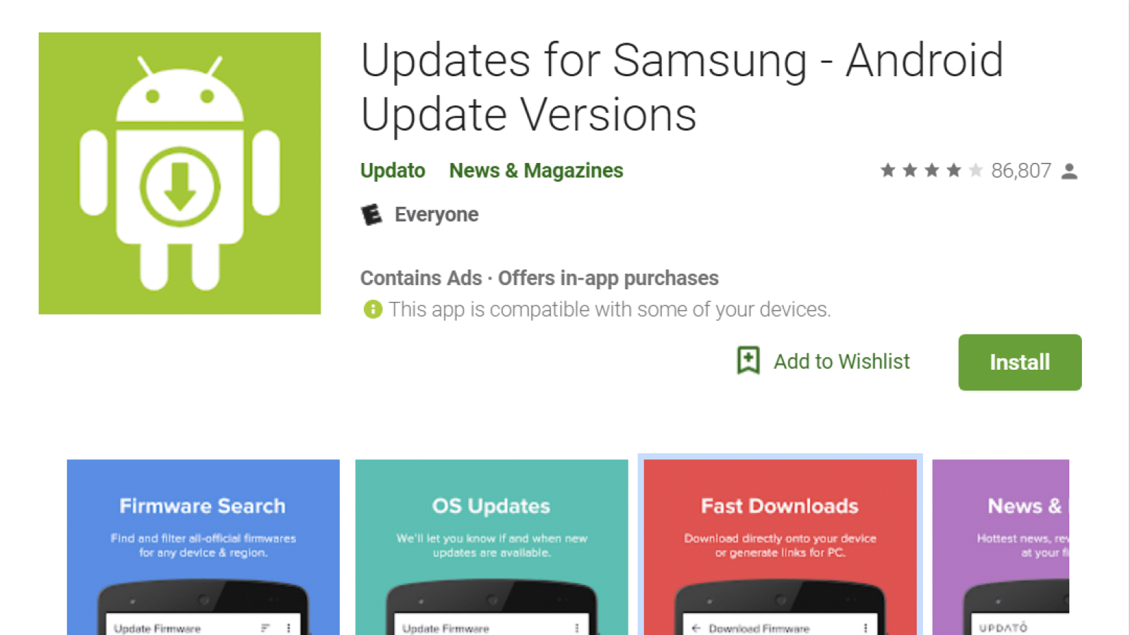 google play store fake samsung update app