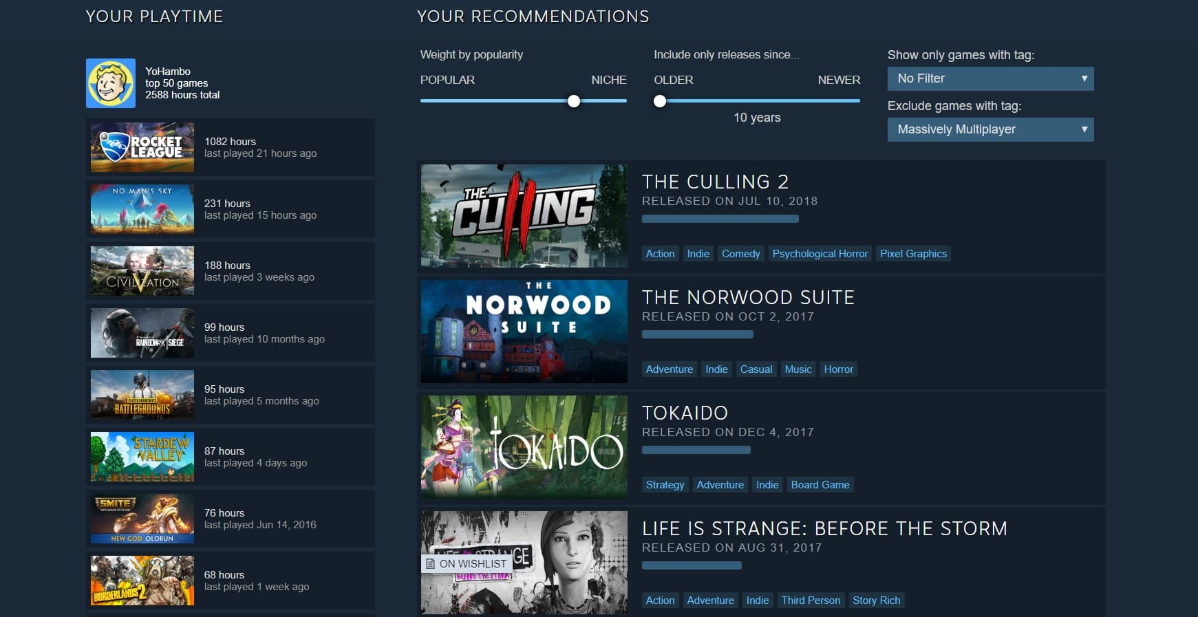 steam interactive recommender tool