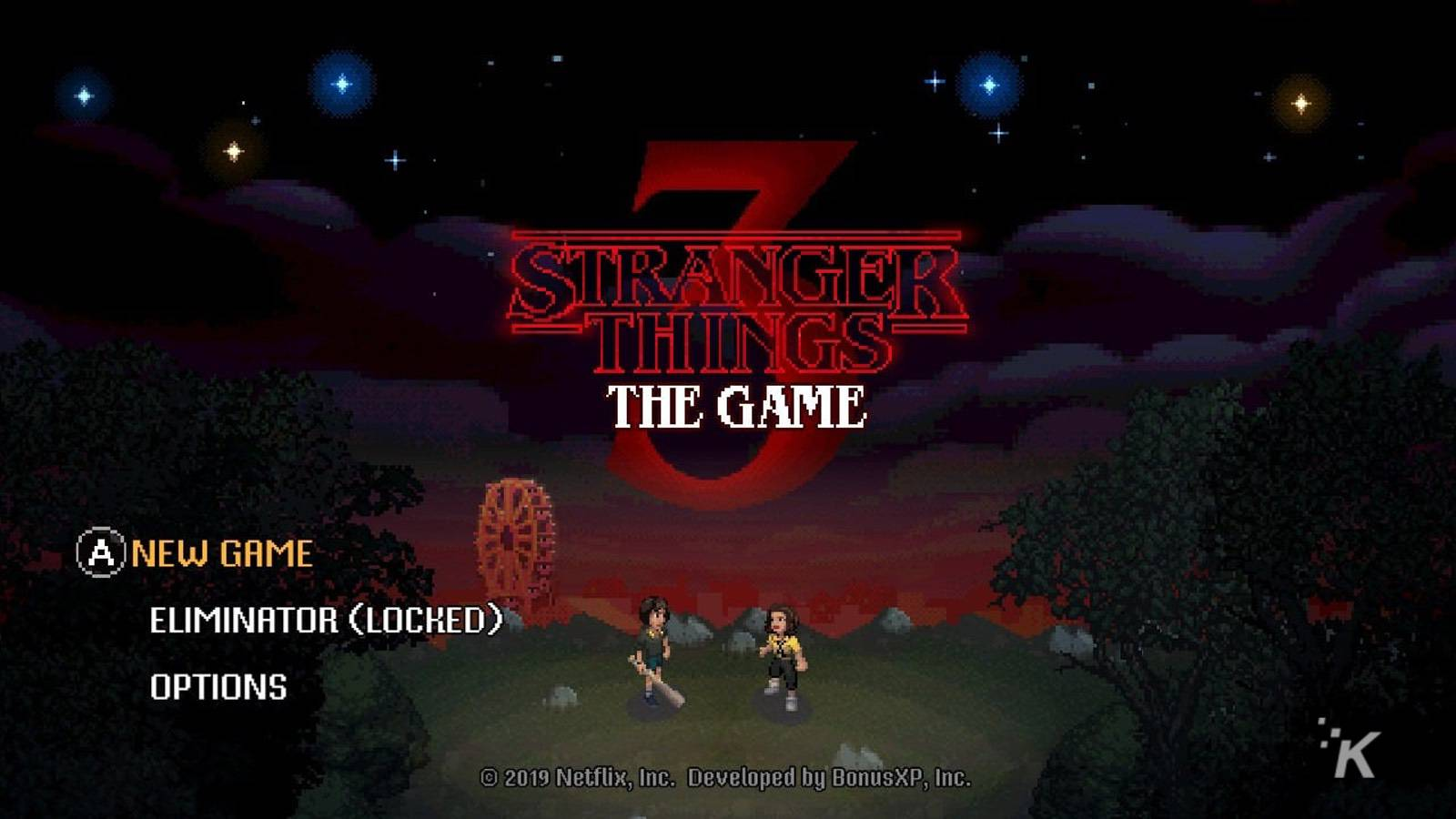 stranger things 3 title screen game