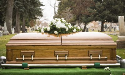 casket and coffin during funeral