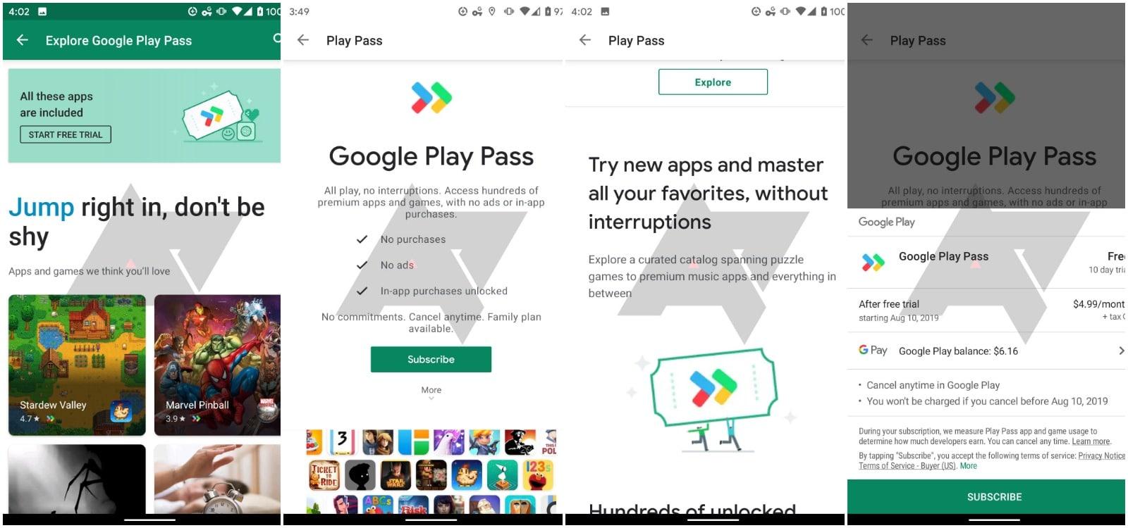 google play pass subscription