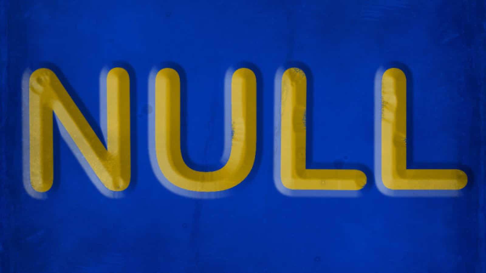 null vanity license plate