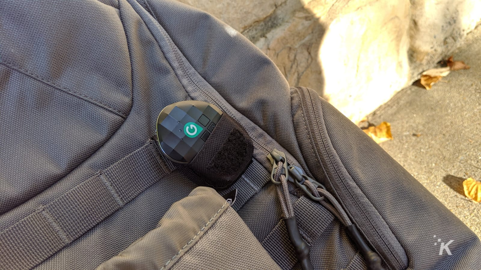 geozilla gps tracker on backpack