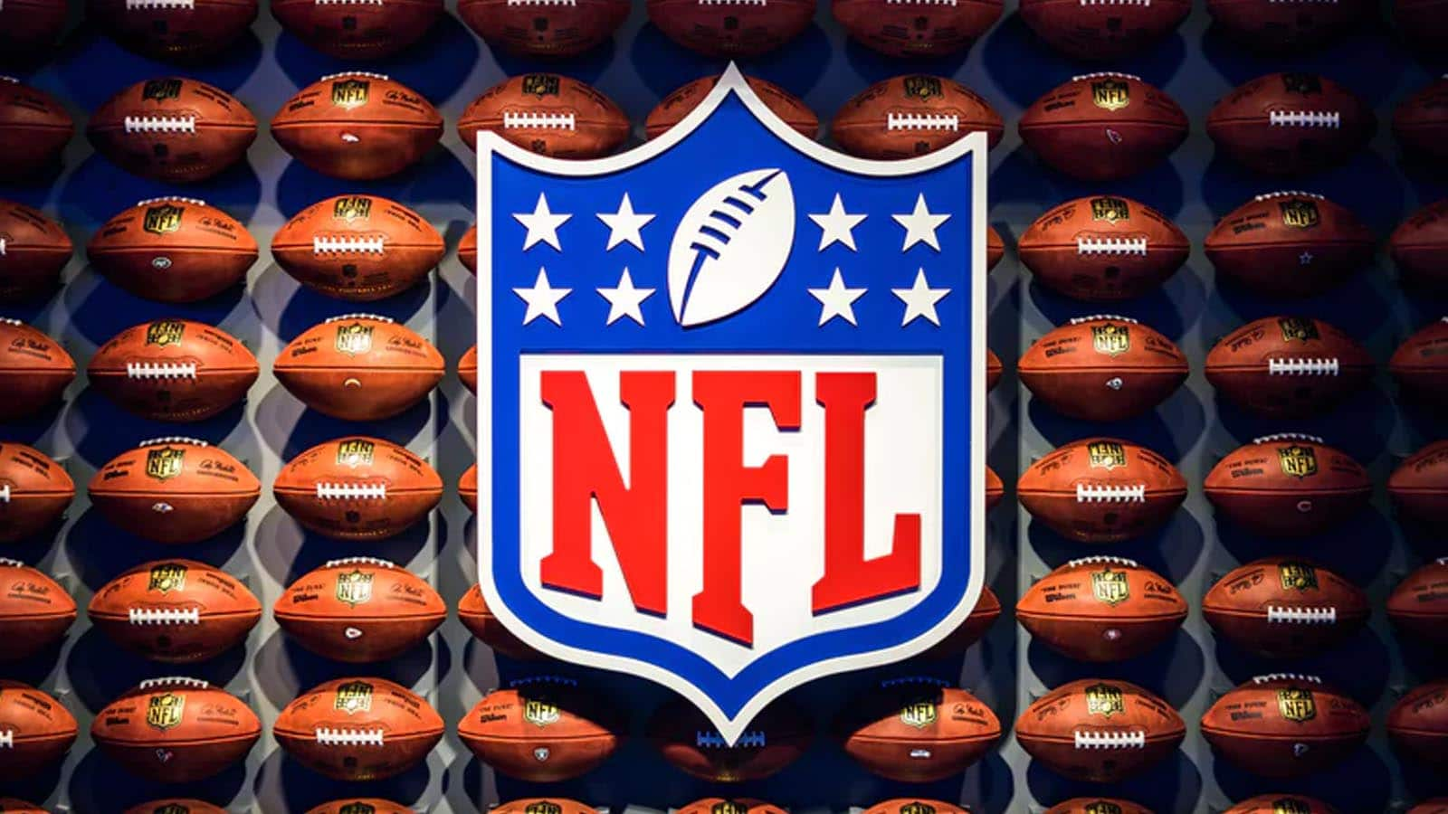 nfl logo with football background