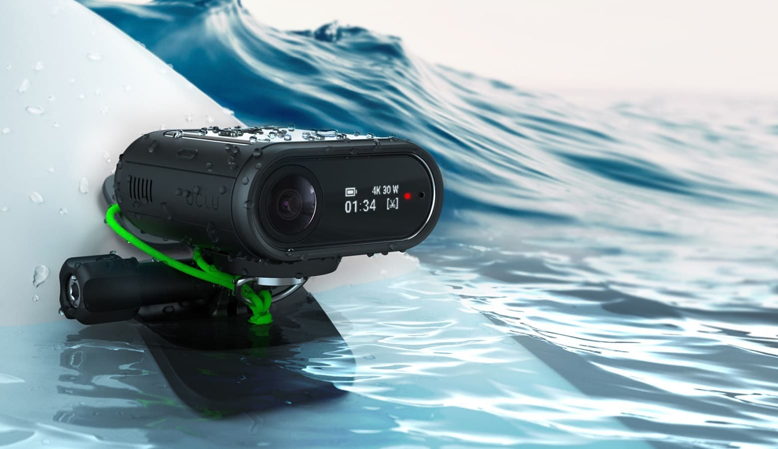 oclu action camera on surf board