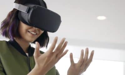 woman using the oculus quest vr headset with hand tracking