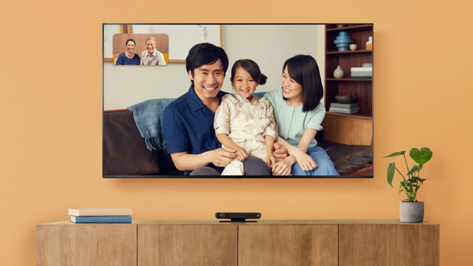 facebook's new portal tv video calling device on an entertainment center
