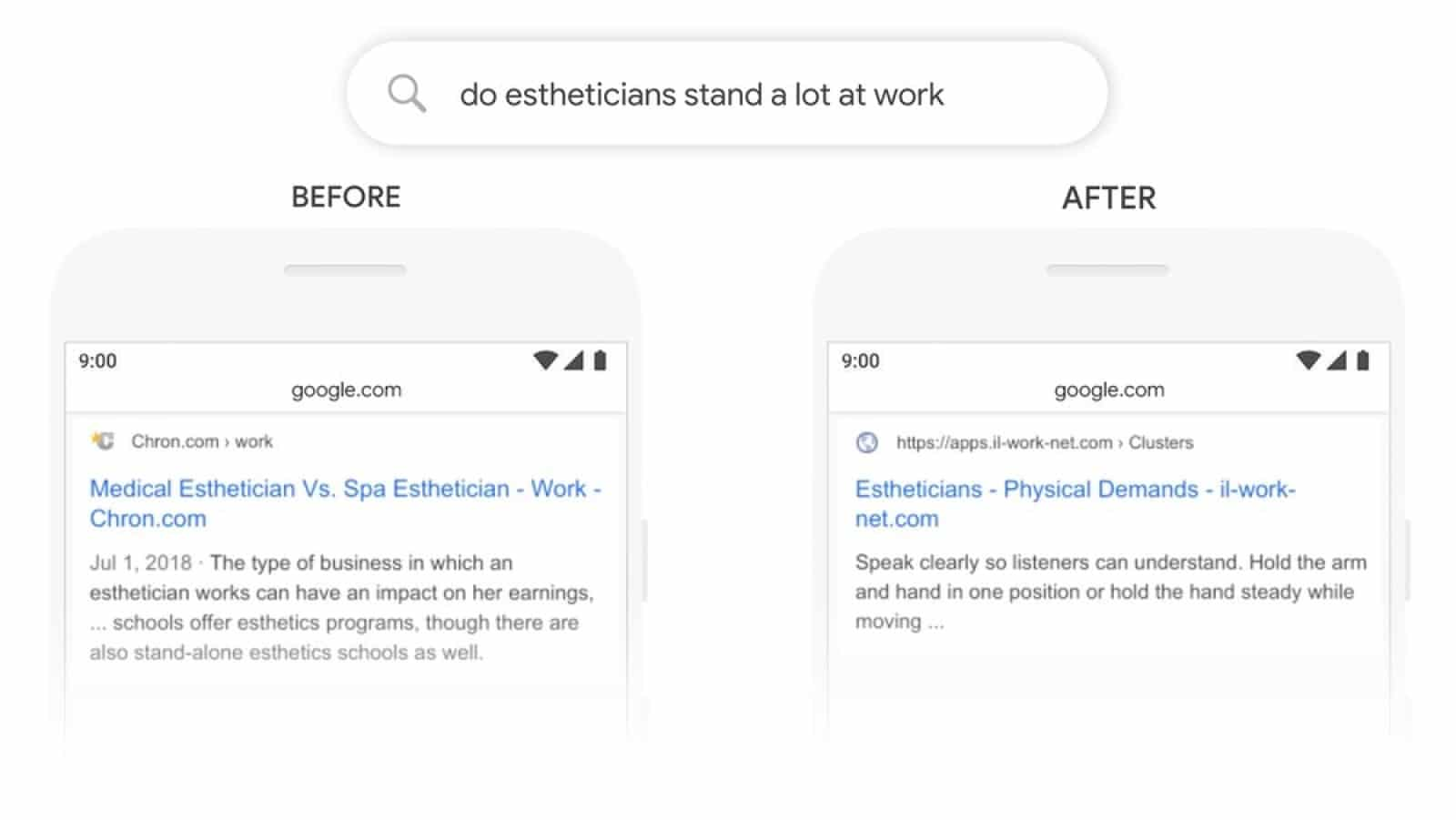 image showing Google's new natural language processing search at work