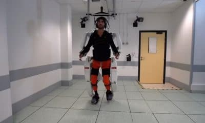 man uses robotic exoskeleton to walk again