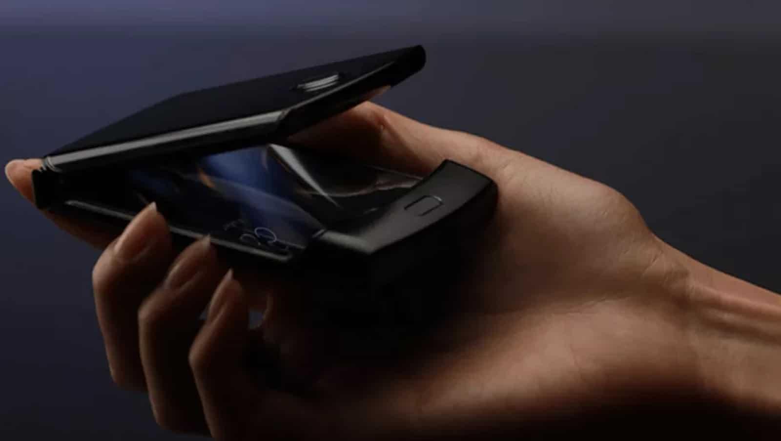 foldable motorola razr phone in a hand