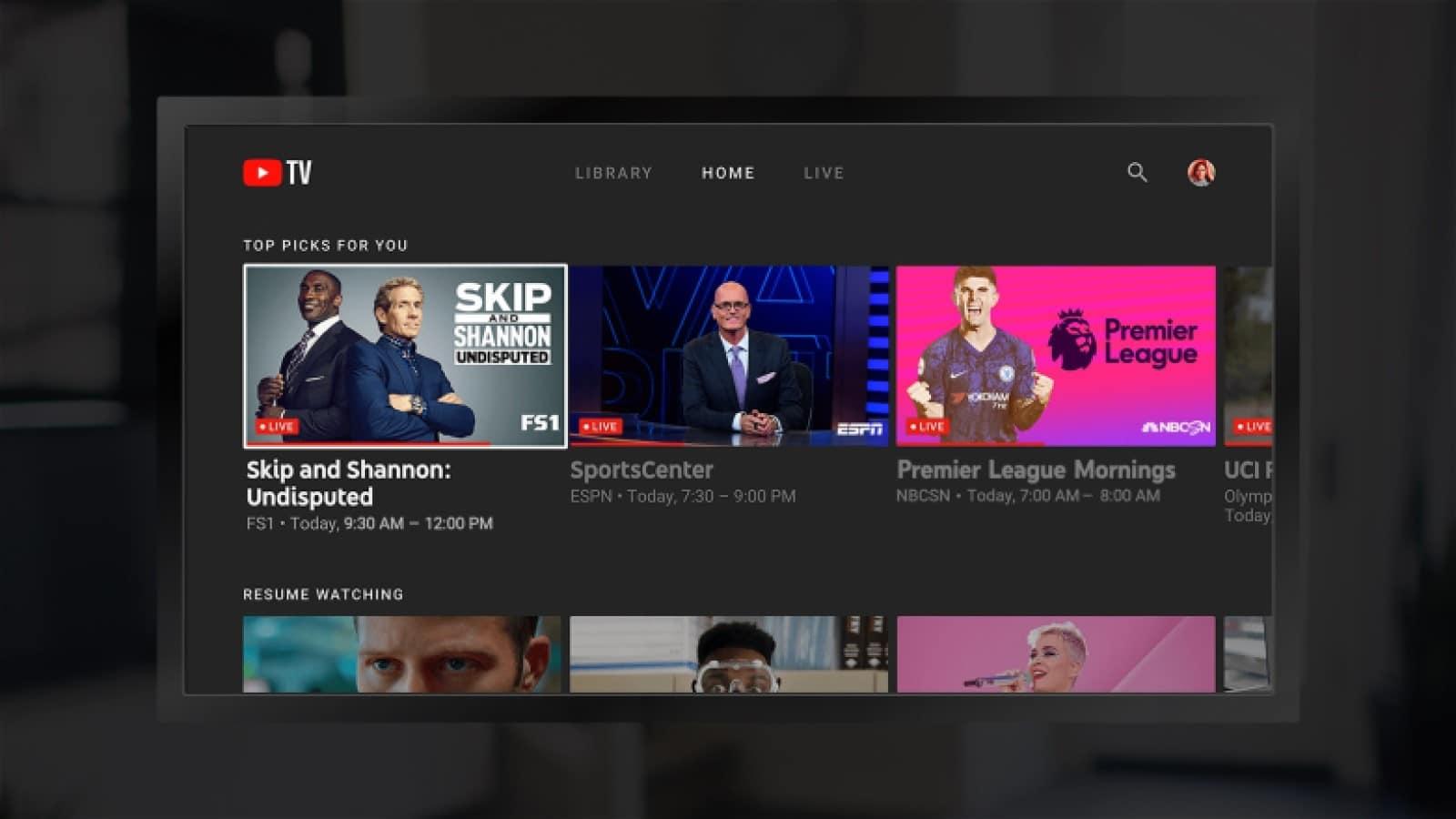 youtube tv dashboard on amazon device