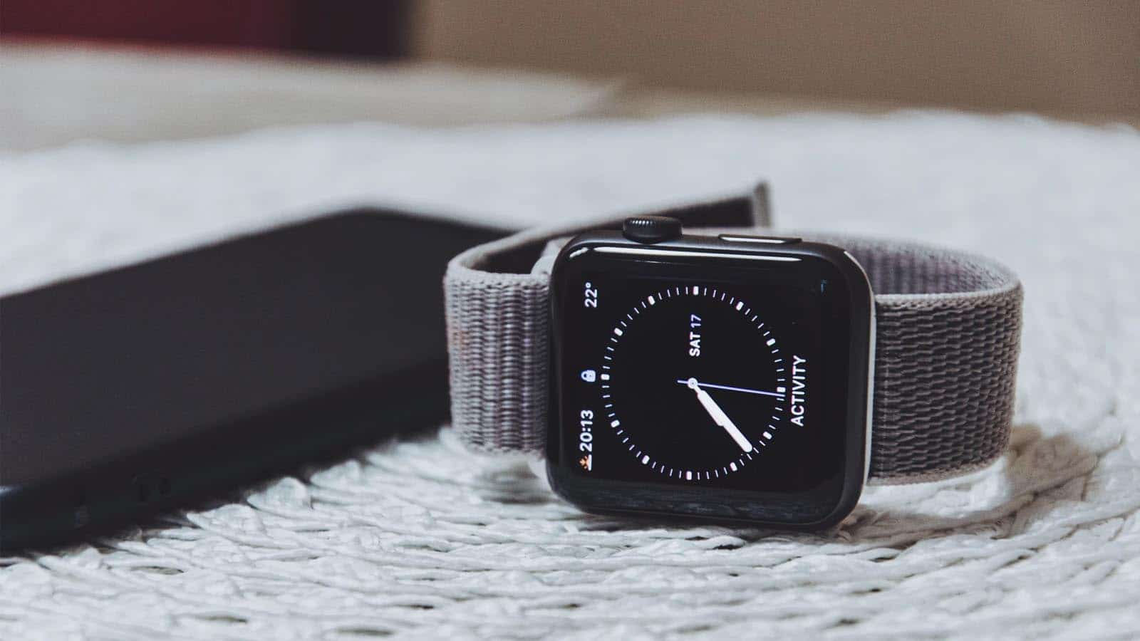 apple watch on bed