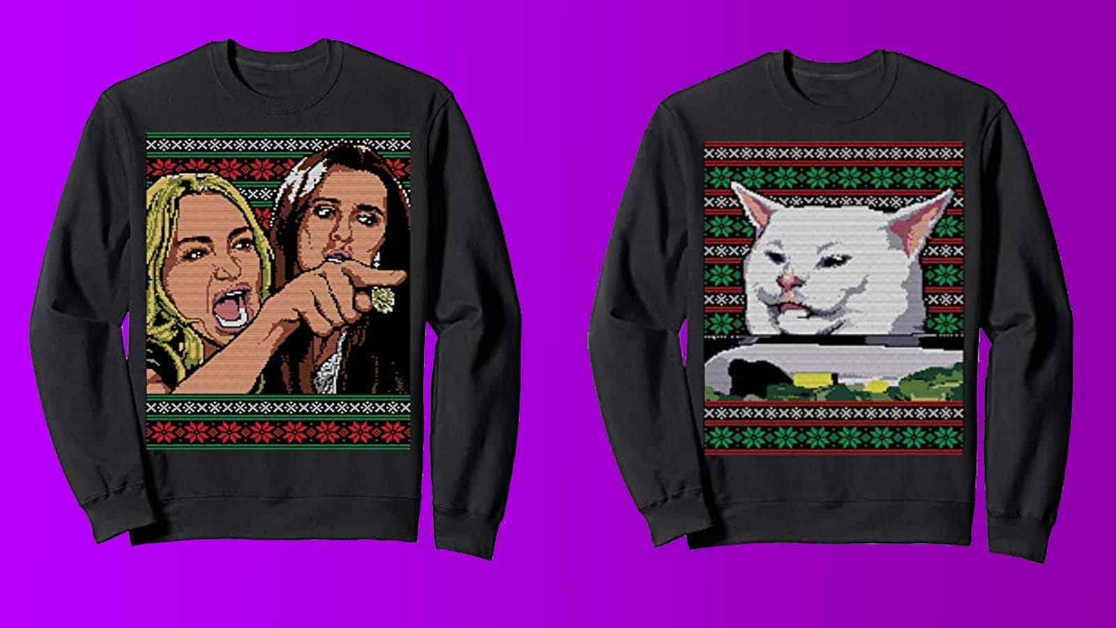 cat meme matching sweaters