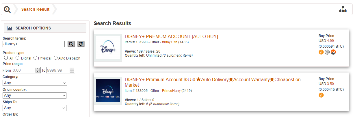 disney+ hacked accounts for sale