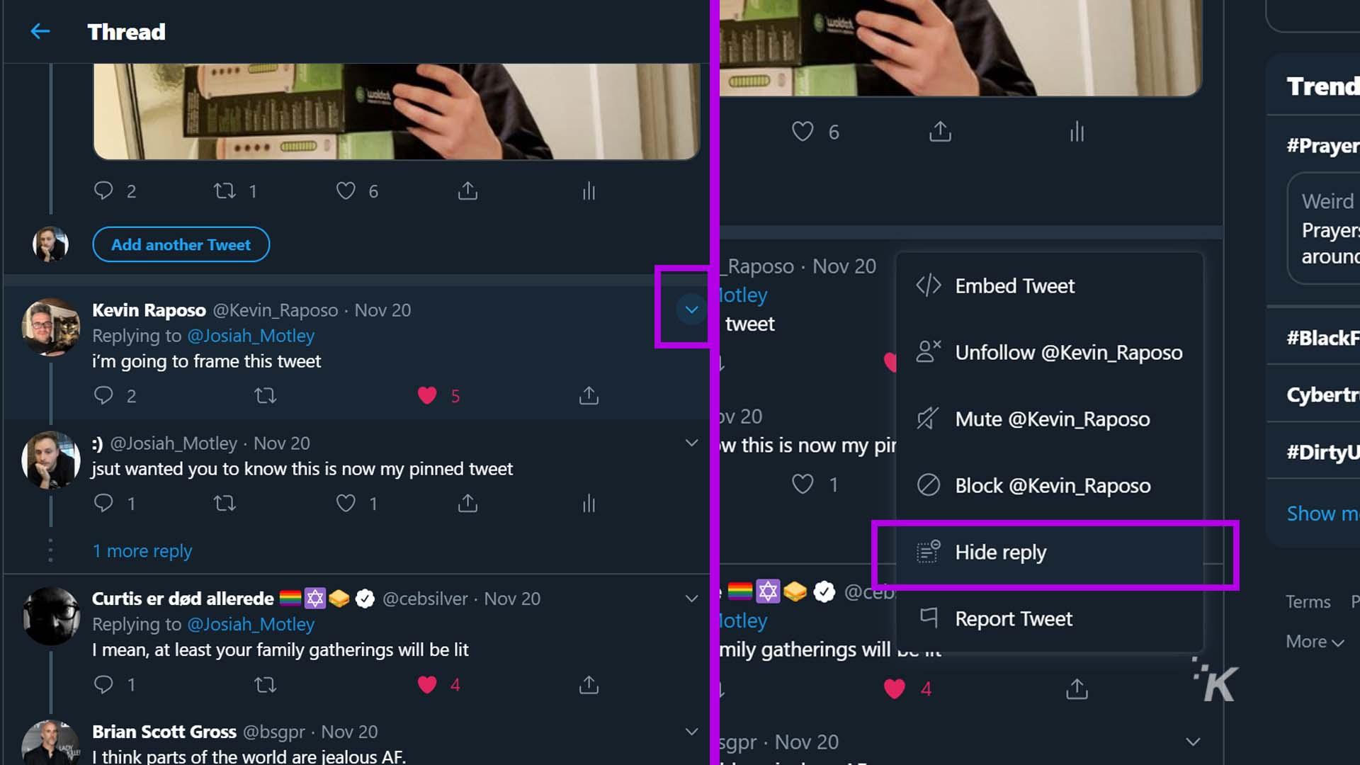 hide replies on twitter