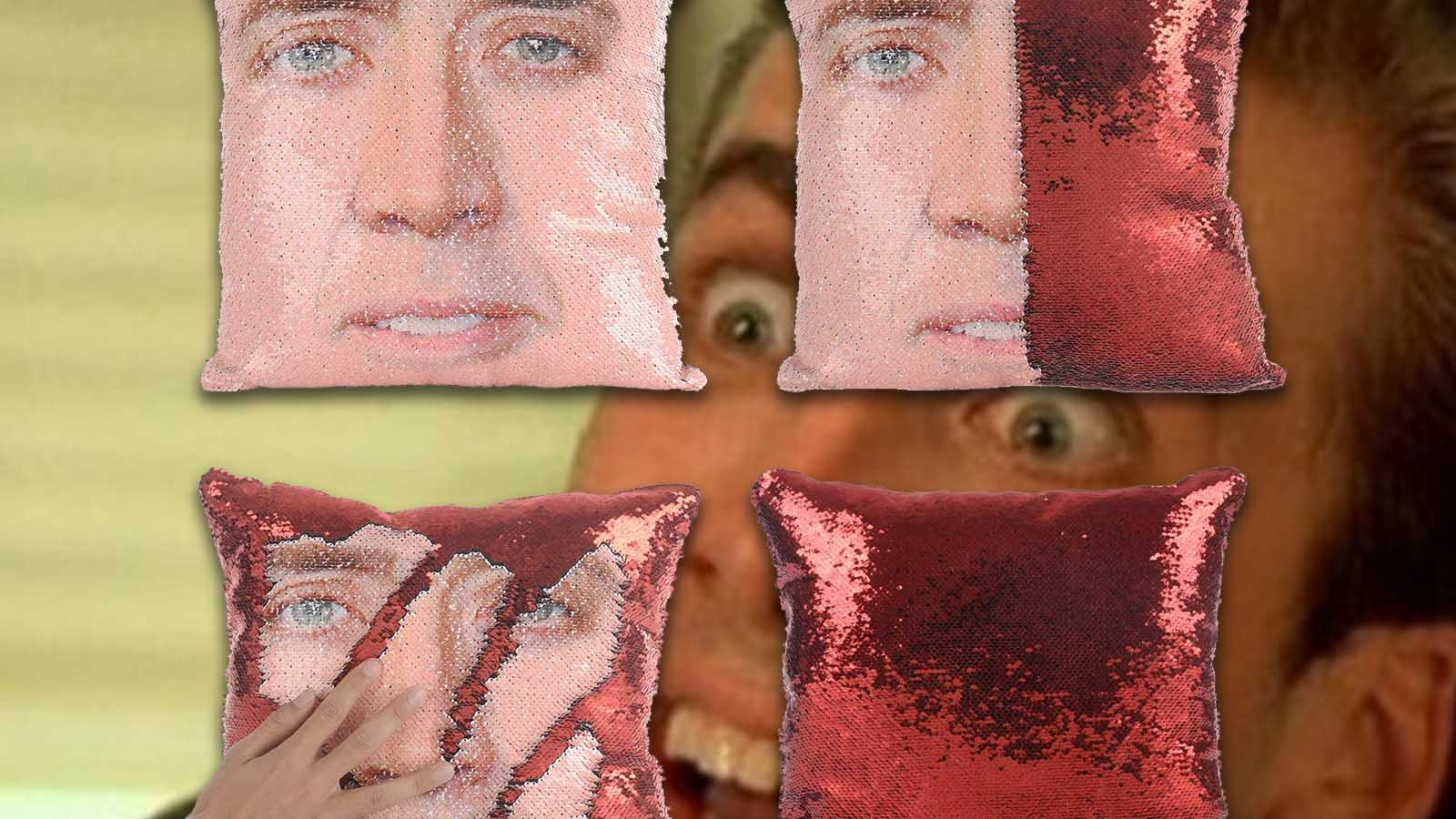 nick cage pillow