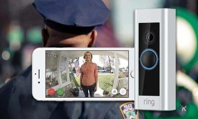 ring doorbell with police in background