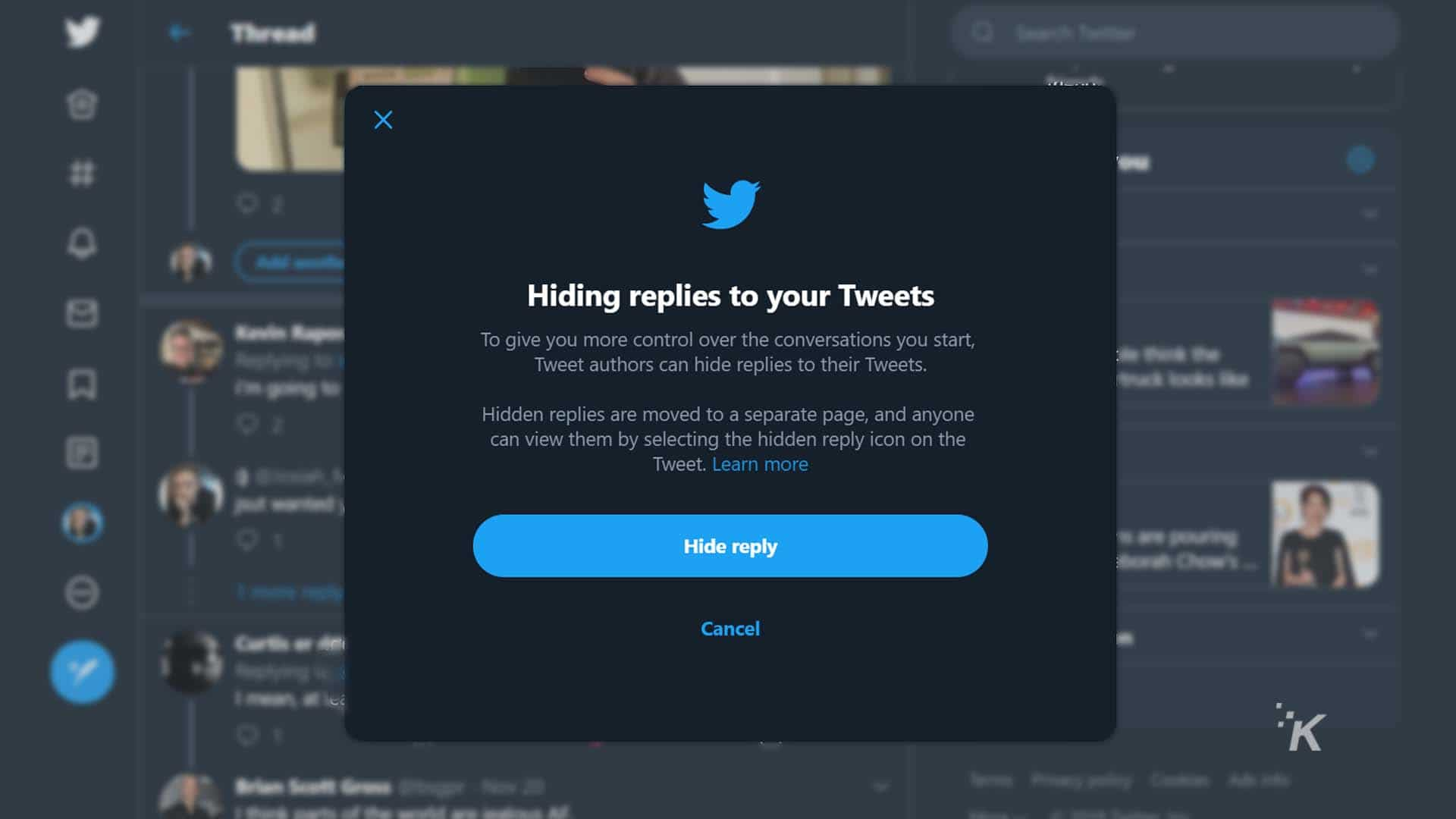 twitter hide replies feature now live