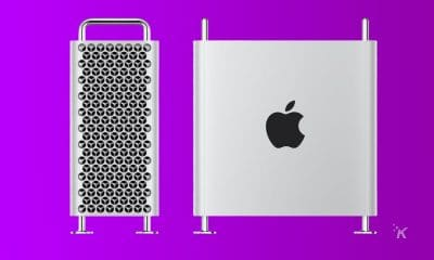 apple mac pro on purple background