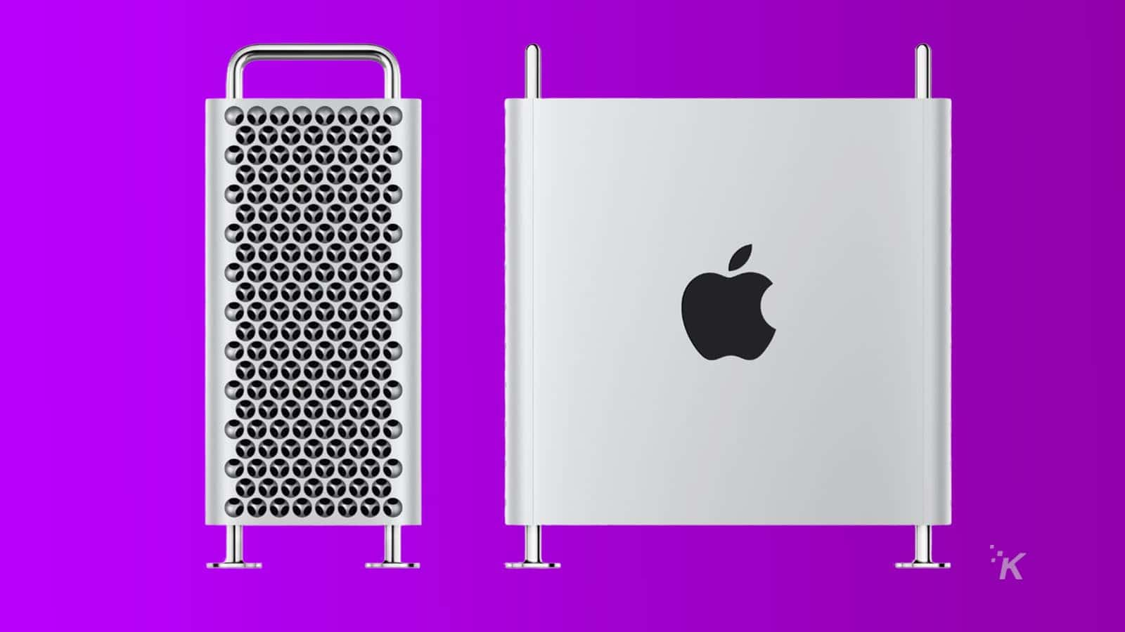 apple mac pro on purple background