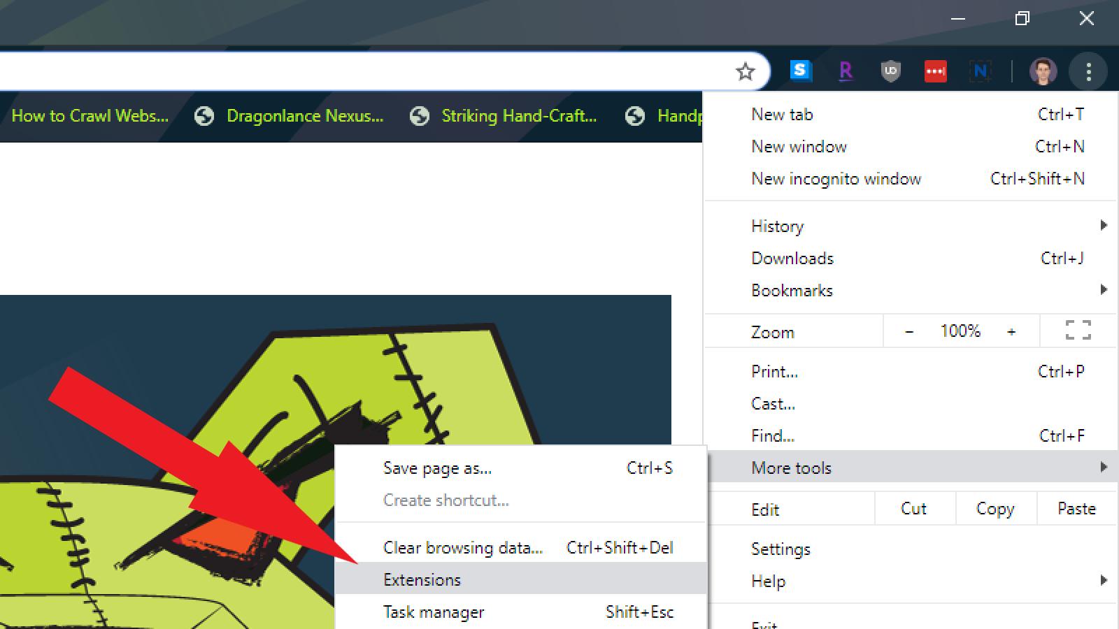 google chrome extensions menu drop down