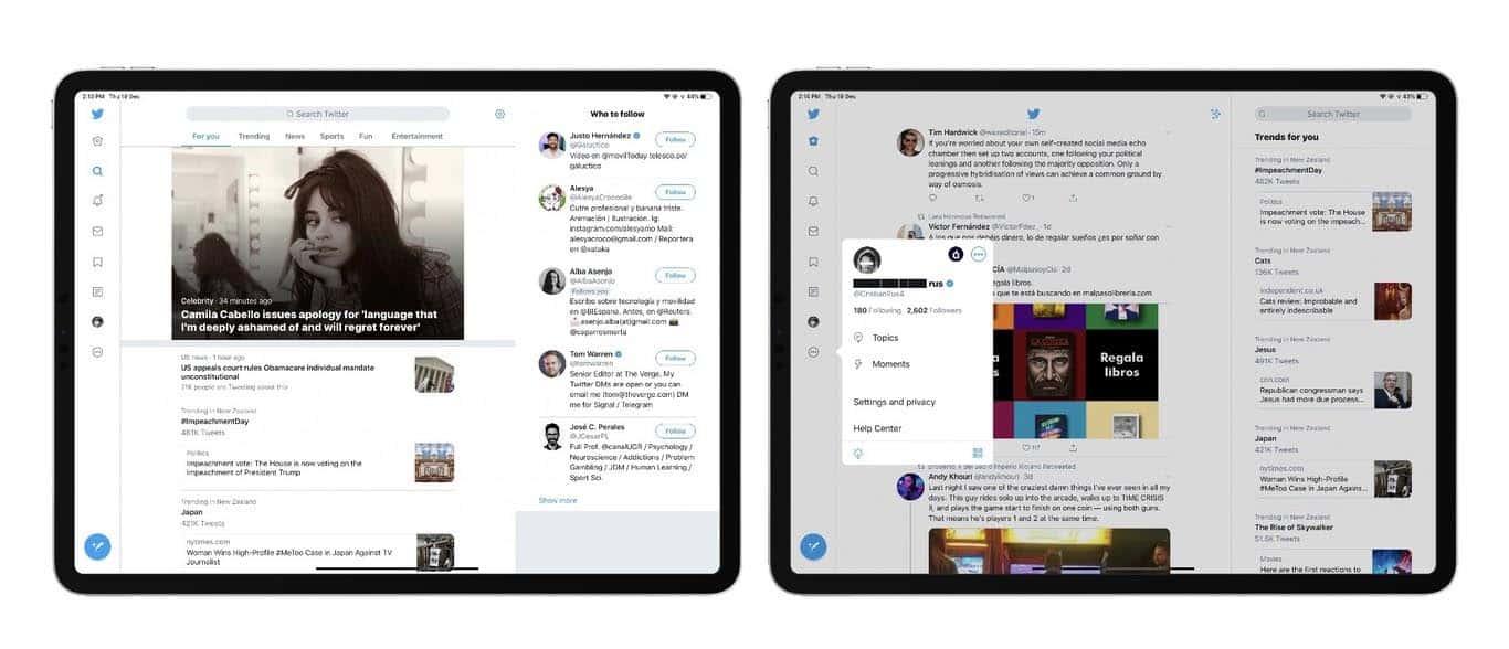 new twitter layout on ipad