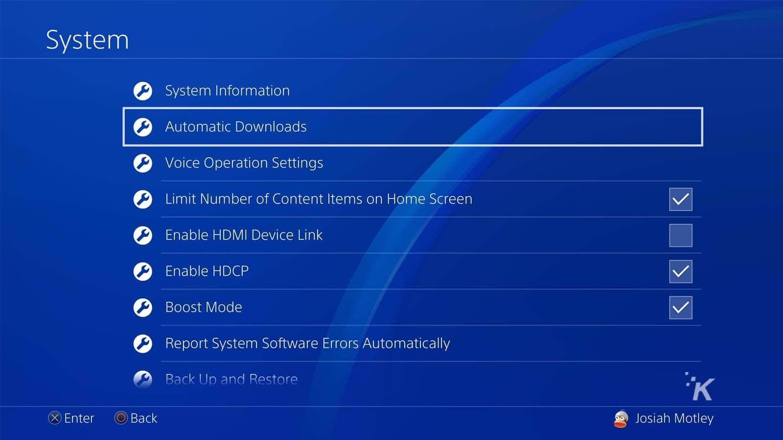 playstation 4 system settings
