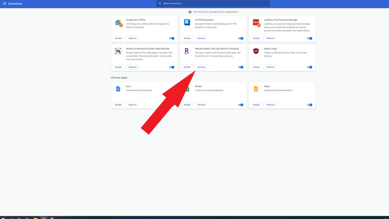 google chrome extensions menu