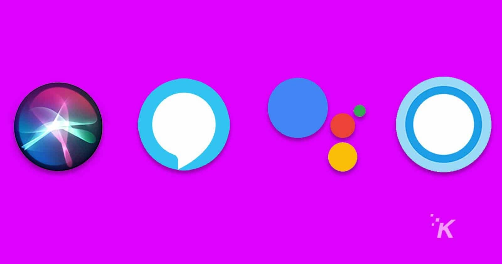 voice assistant logos on purple background
