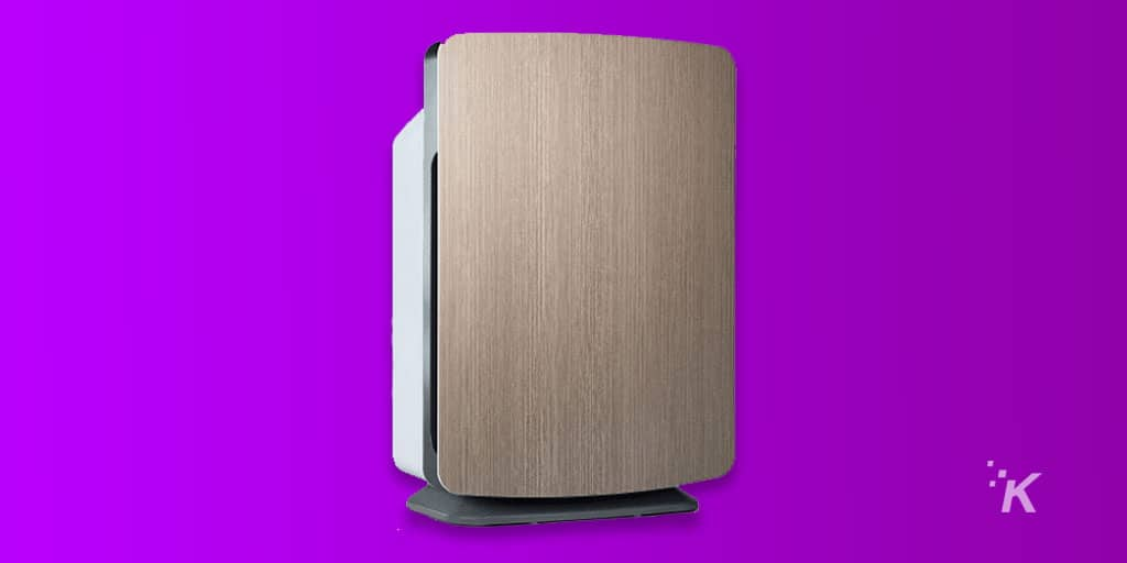 air purifier on purple background