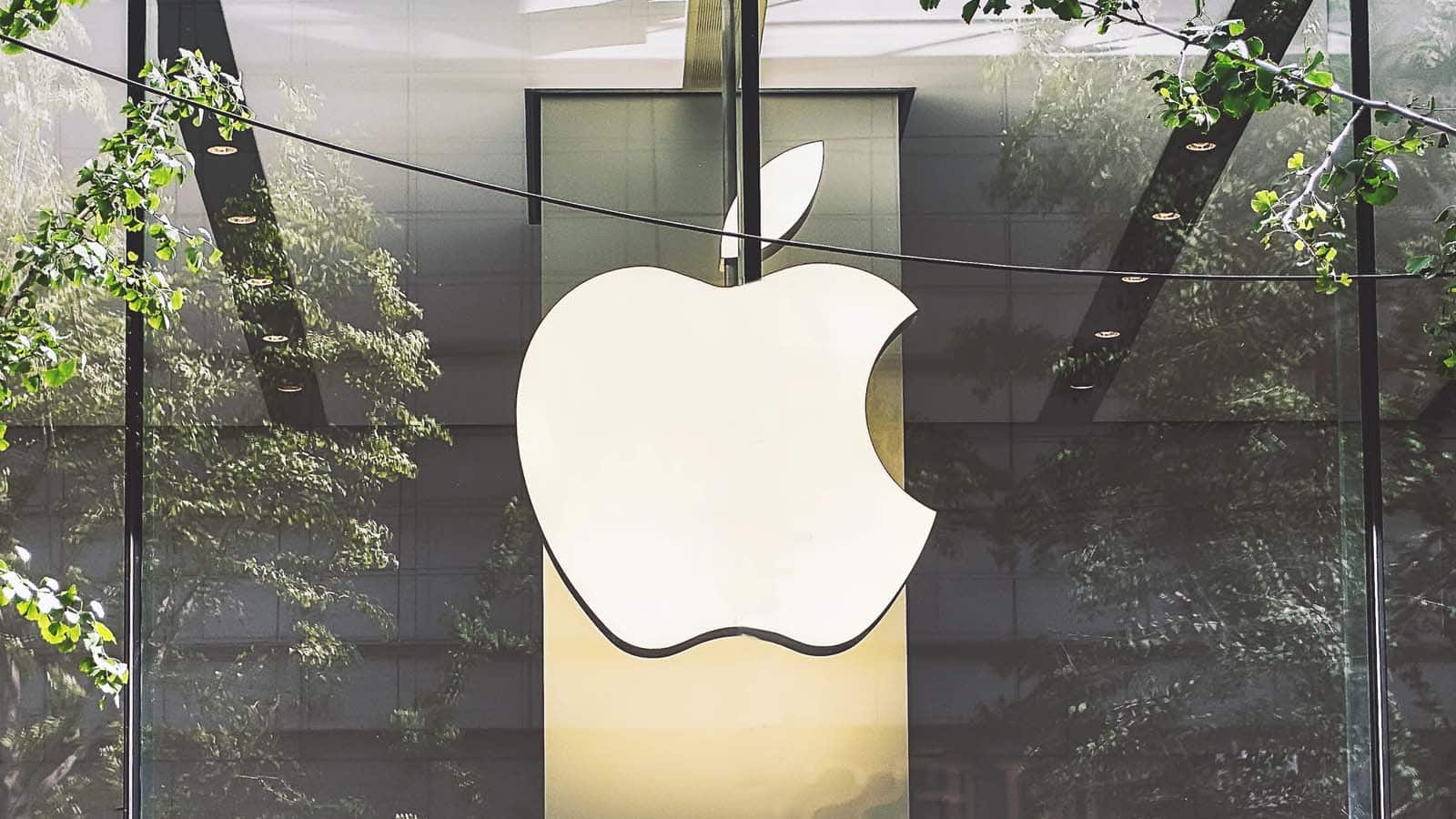 apple logo on glass