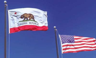 california flag beside american flag