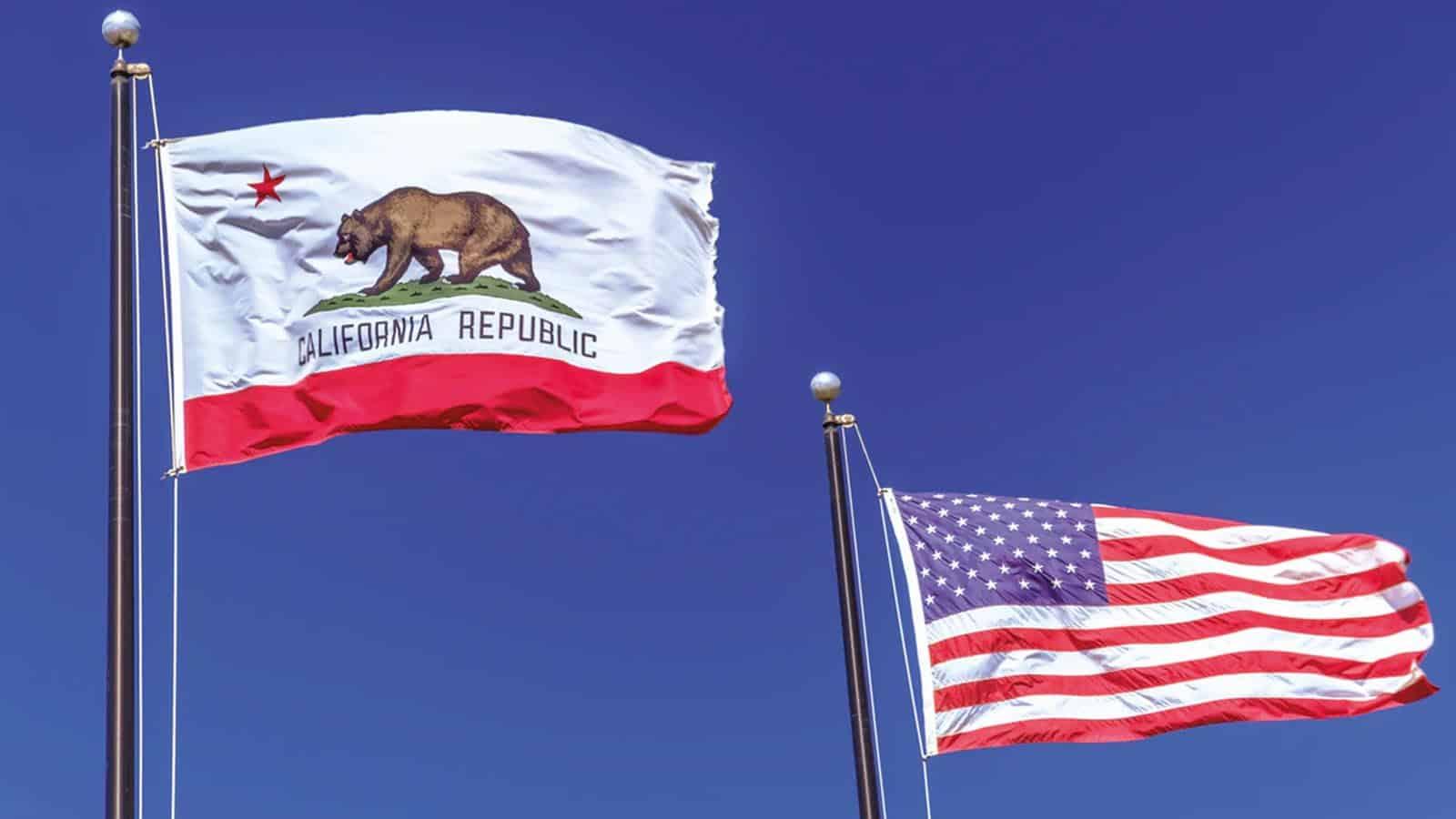 california flag beside american flag