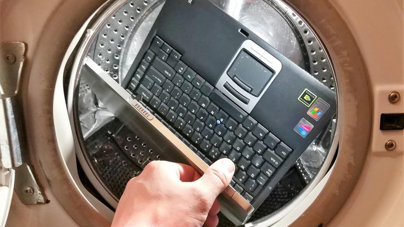 laptop in washing machine