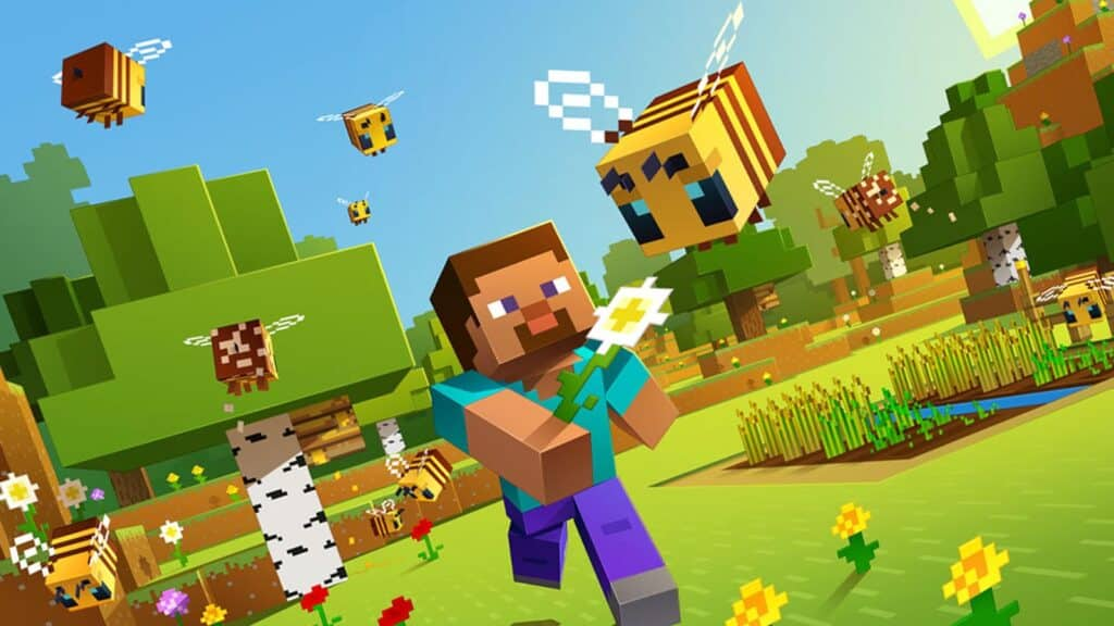 minecraft steve and bees