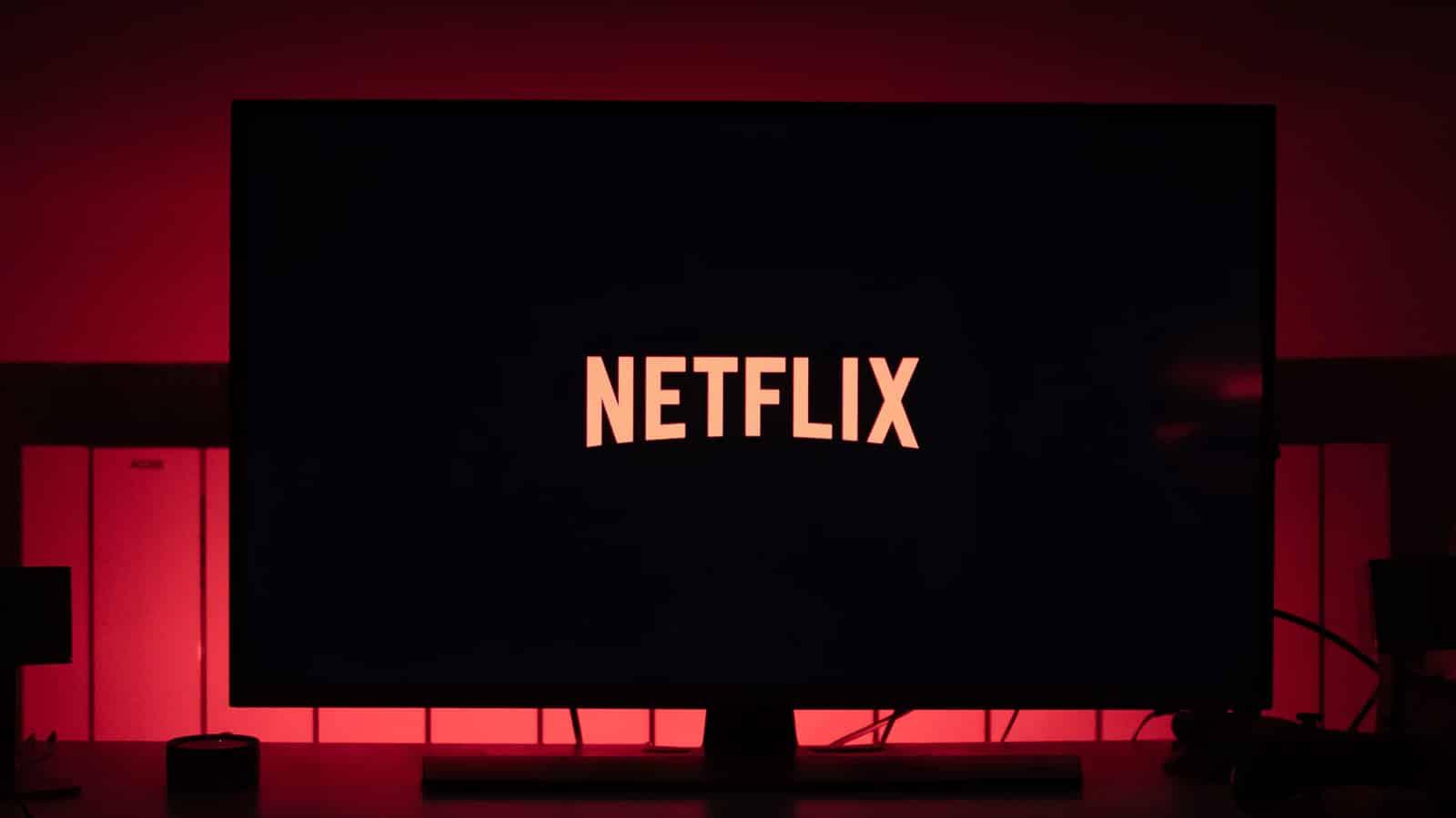 netflix logo on red background