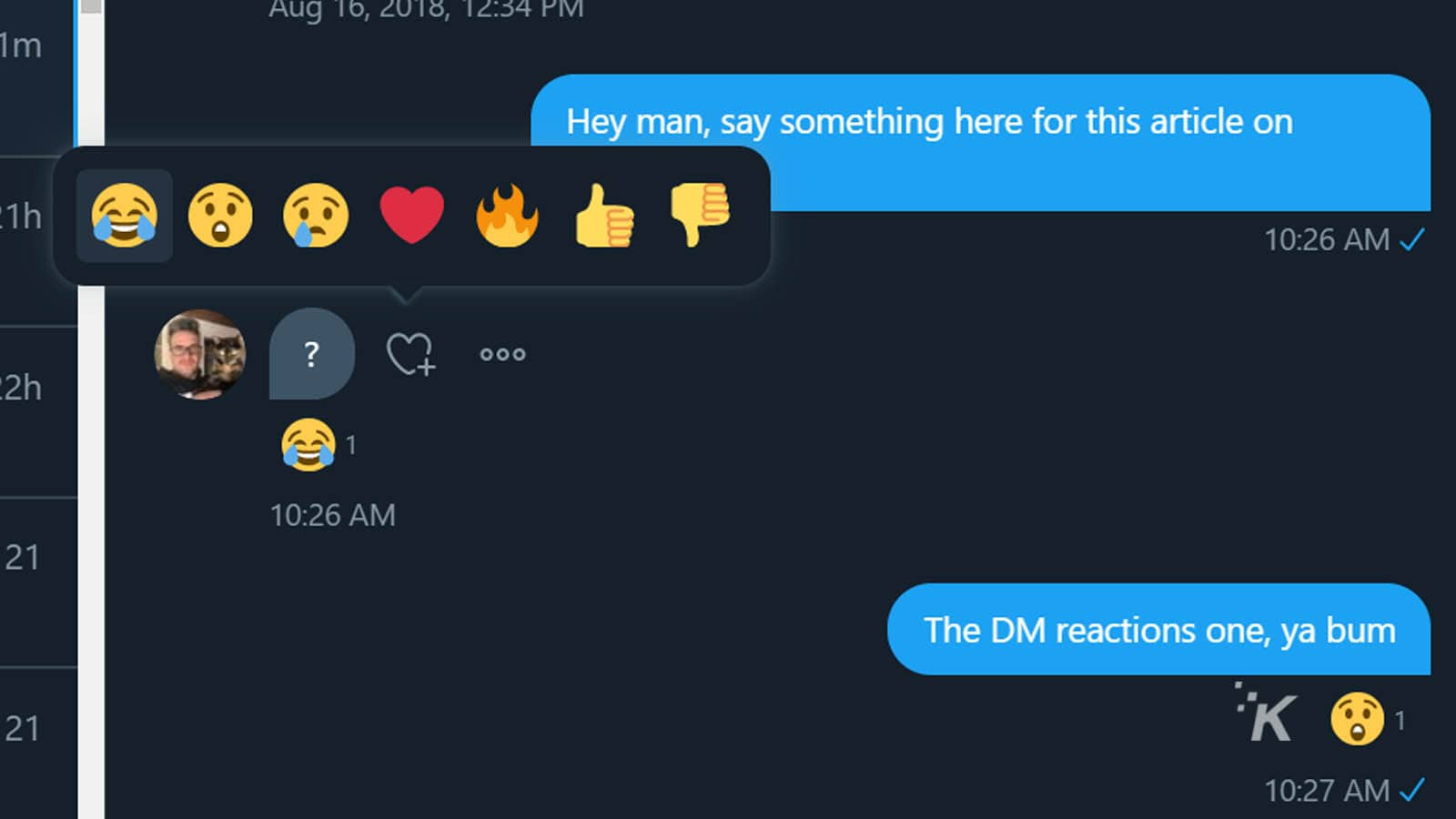 twitter dm reactions how-to
