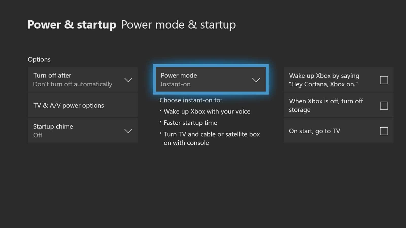 xbox one power settings