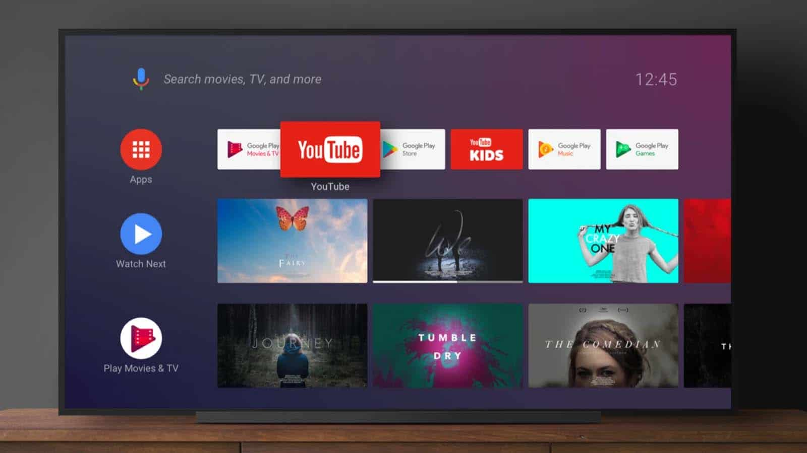 android tv on table