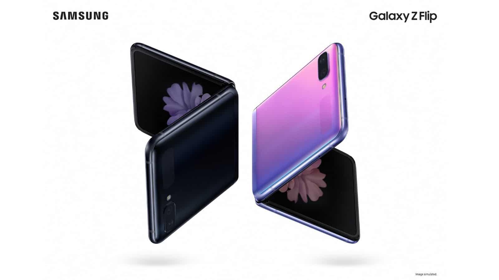 galaxy z flip phone on white background