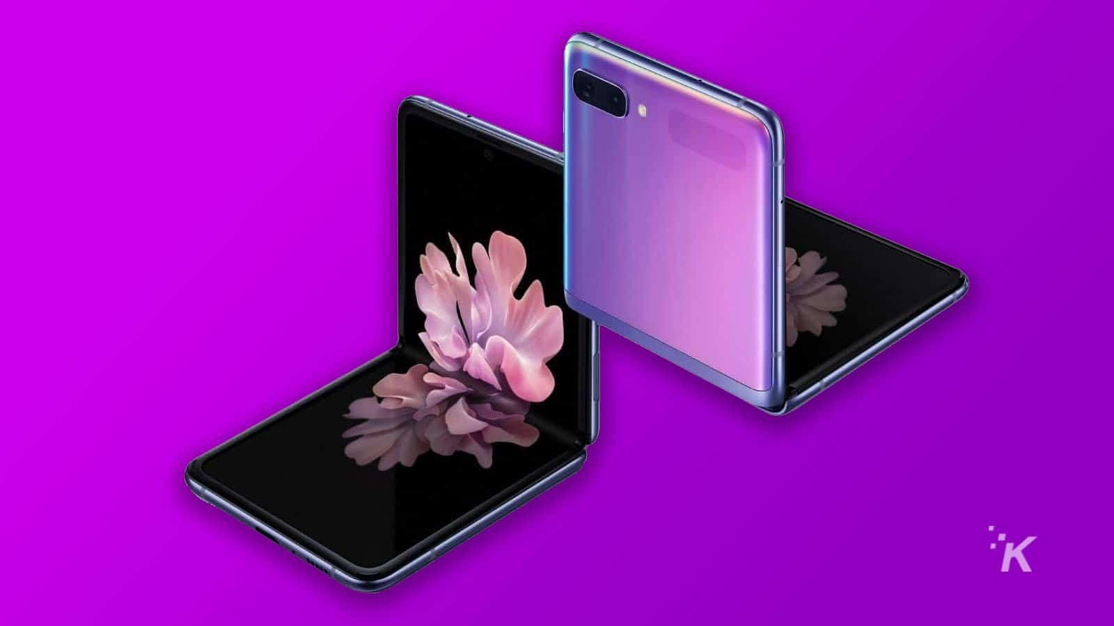 samsung galaxy z flip phone on purple background