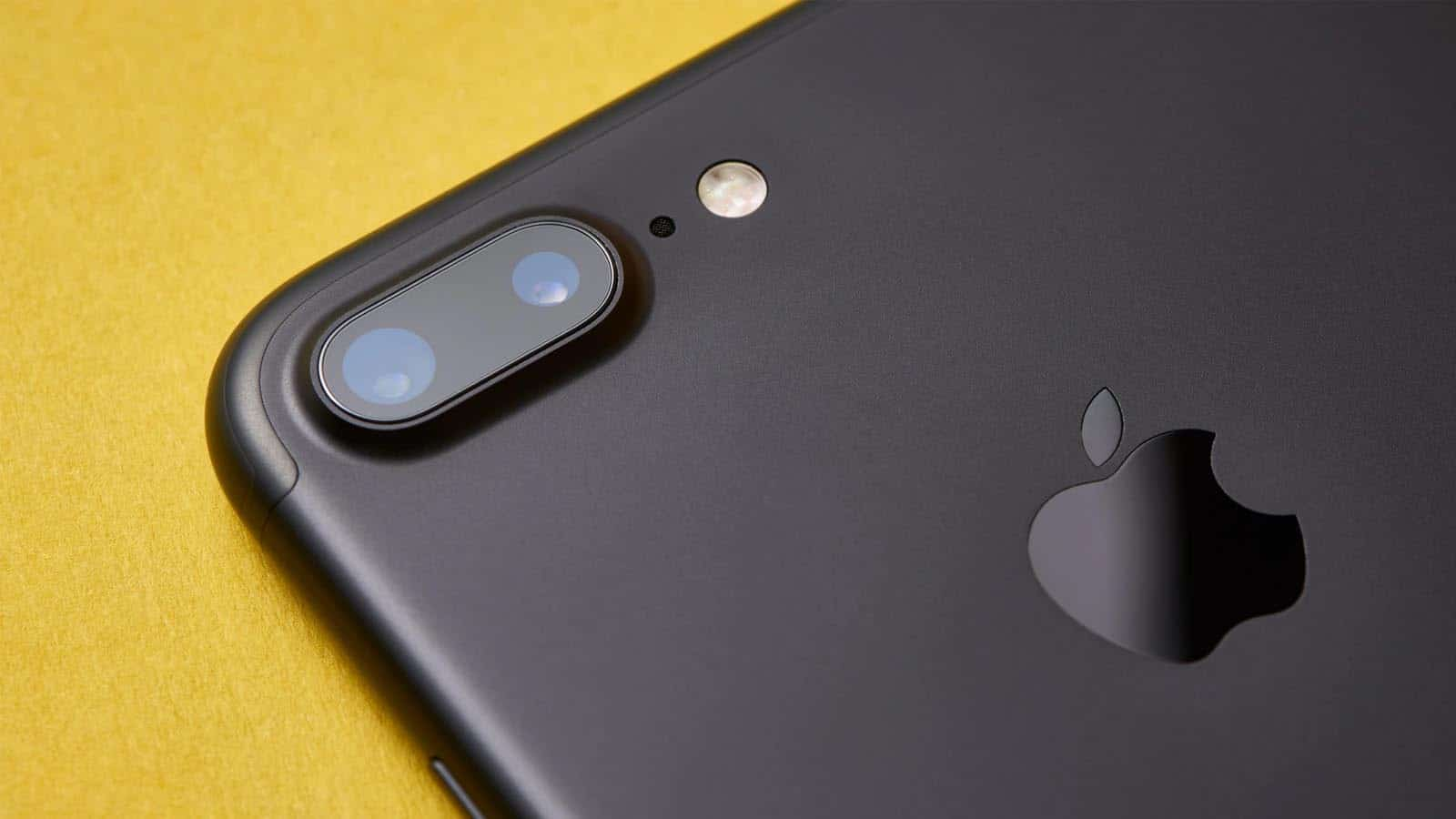 apple iphone 7 on yellow background