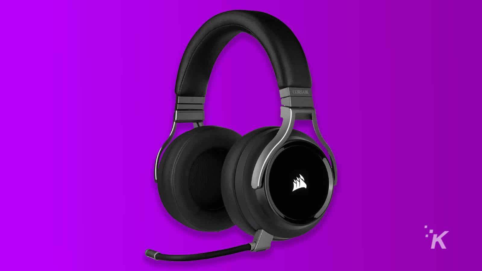 corsair gaming headset on purple background