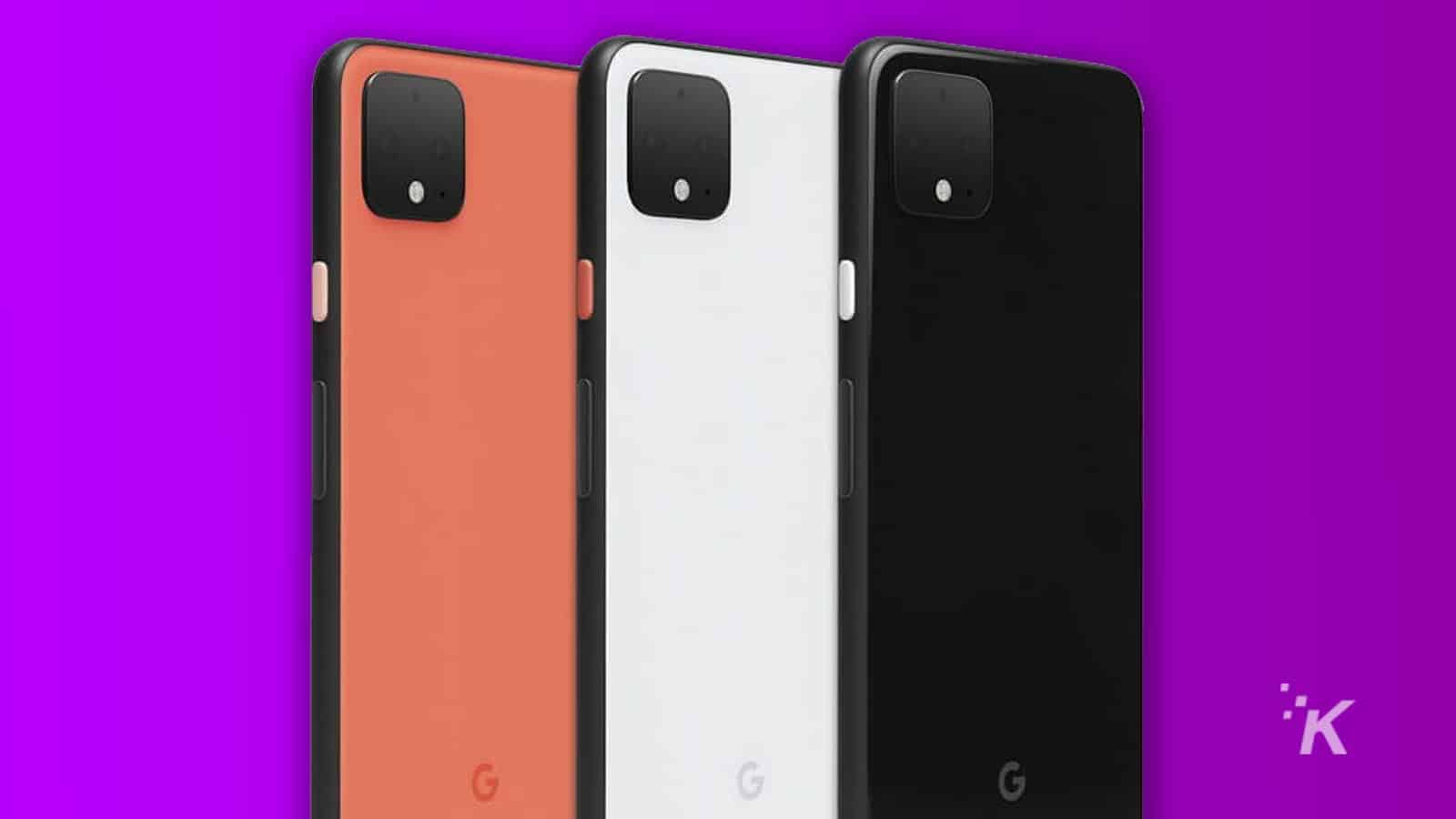 google pixel 4 on purple background
